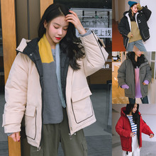Women Winter Warm Coat Hooded Thick Loose Jacket Short Overcoat Female Stand Parka