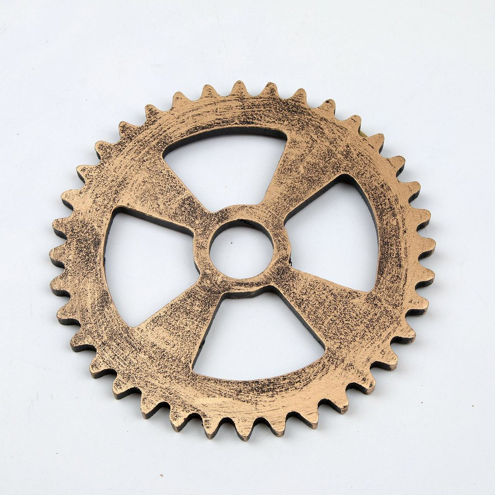 14/24/32 Cm Gold Silver Color Retro Industrial Style Imitation Metal Wood Gear Bar Loft Creative Wooden Props Wall Hanging Decor
