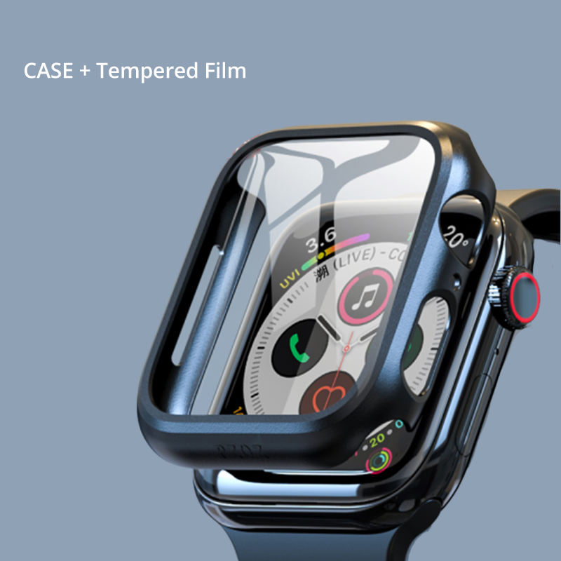 Electroplate Case For Apple Watch 5 Case With Glass Cover For Apple Watch Series 5 4 44mm 42mm Iwatch 3 2 1 42mm 40mm Protector
