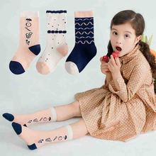 3pairs/lot Cute Dot Stripe Cotton Socks Kids  Long For Girls Boys Warm Funny Children 3-12T Calcetines High Quality