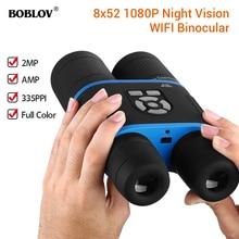 лучшая цена BOBLOV 8-52mm Day and Night HD Binocular Low Light Night Vision Binocular 335PPI 1080p Video Recorder Wifi E-Compass