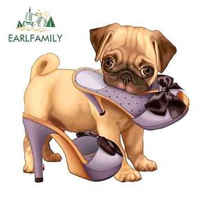 EARLFAMILY 13cm x 12.4cm for Pug Puppy and High Heel Shoes Motorcycle Car Bumper Window Stickers 3D Funny Decal Suitable for RV