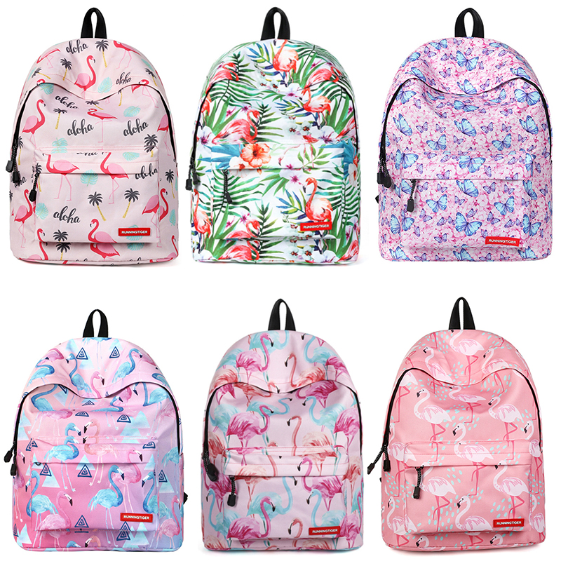 School Bag for Teenager Girls Women Laptop Backpack Flamingo Printing Bagpack Mochila Feminina Escolar Big Laptop Travel Daypack