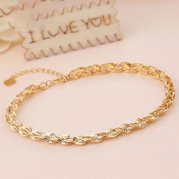 Glitzy Sparkling 18K True Solid Genuine Gold AU750 Yellow Phoenix Tail Chain Bracelet for Women Girl Party Fine Upscale Jewelry 2