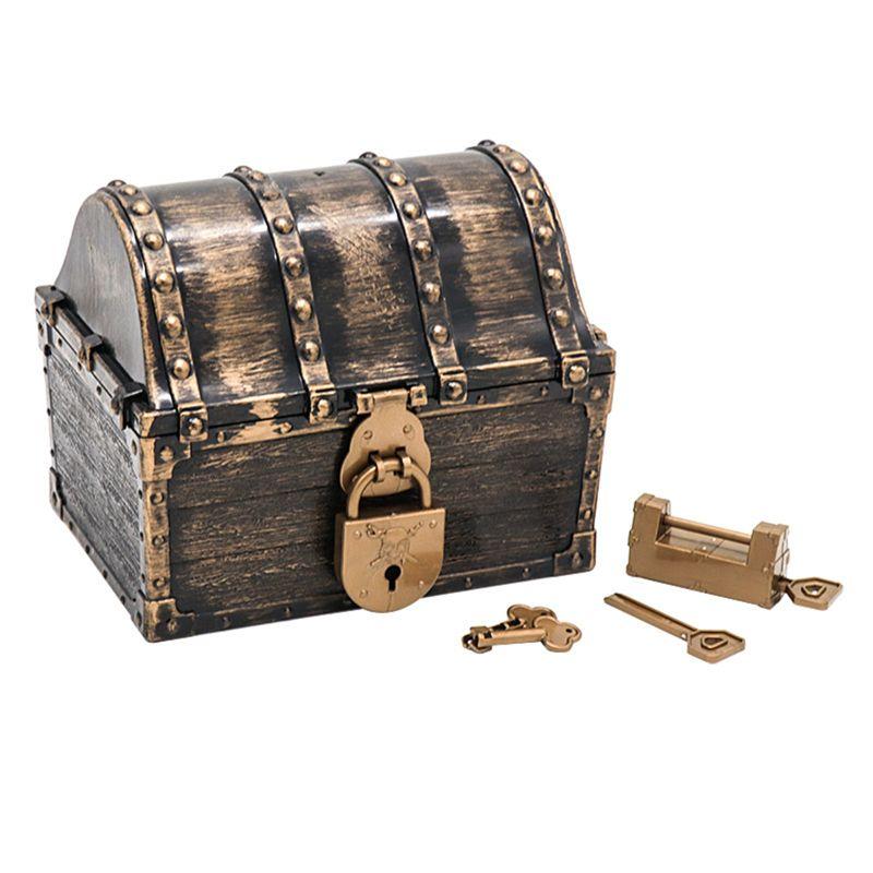Cofre del Tesoro pirata caja de pirata con 2 cerraduras fiesta favorece a los niños juguete niño regalo Estatua de una pieza de 9 pulgadas, sombrero de paja, piratas, bigotes blancos, busto, figura de acción de 23,5 CM, juguete de modelos coleccionables, caja J430