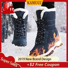 KAMUCC 2019 Women Snow boots Waterproof Non-slip Parent-Child Winter Boots Thick Fur Platform and Warm Shoes Plus Size 31-42