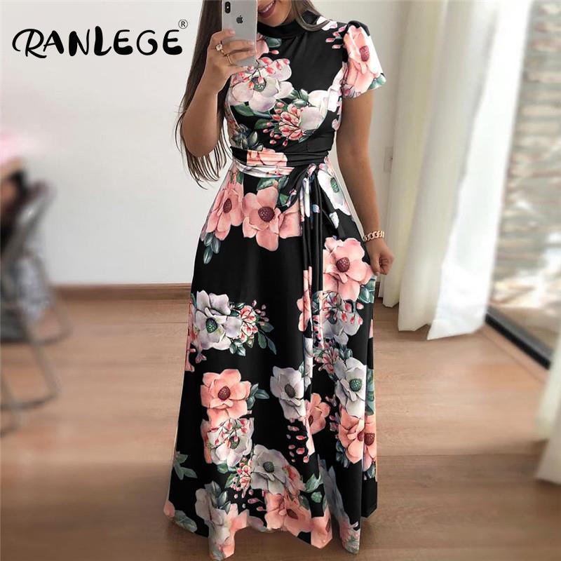 Womens Long Sleeve Turn-Down Collar High Waist Print Color Shirt Dress Boho Dress Maxi Dress Vintage V Neck Print Loose Casual Short Sleeve Beach Summer Dress Long Wrap Sash