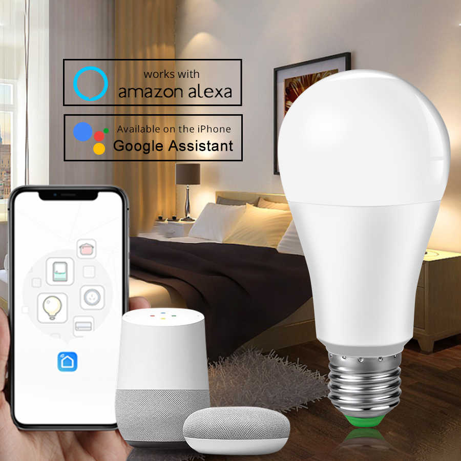 3pcs E27 B22 Wifi Smart LED Bulb 15W Intellegent Warn Lighting Dimmable LED Lamp App Control Work with Alexa Google Assistant