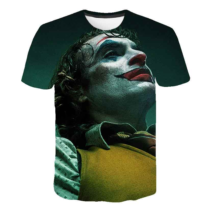 New 3D Printed T Shirt Joker Face Casual O-neck Male Tshirt Clown Short Sleeve Cosplay Funny Hip Hop Breathable T-shirts Tops