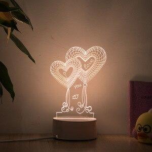 Романтическая любовь 3D лампа в форме сердца воздушный шар акриловый светодиодный ночник декоративный Настольный светильник День Святого Валентина милый подарок для жены