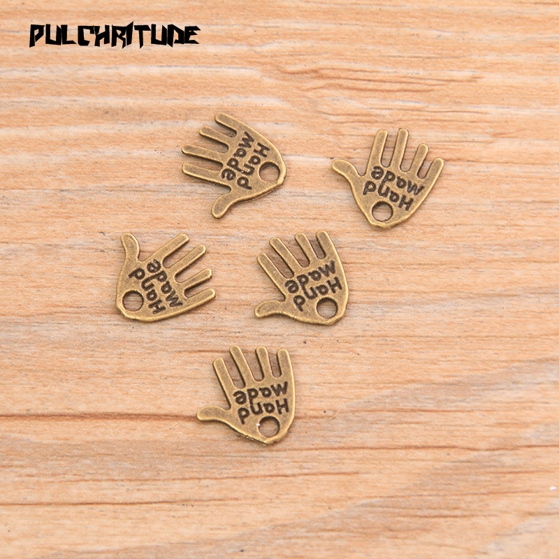 """PULCHRITUDE 60pcs 13*11mm Two Color Letter """"HAND MADE """"Charms Palm Pendants Handmade  Vintage For DIY Jewelry Making Findings 4"""