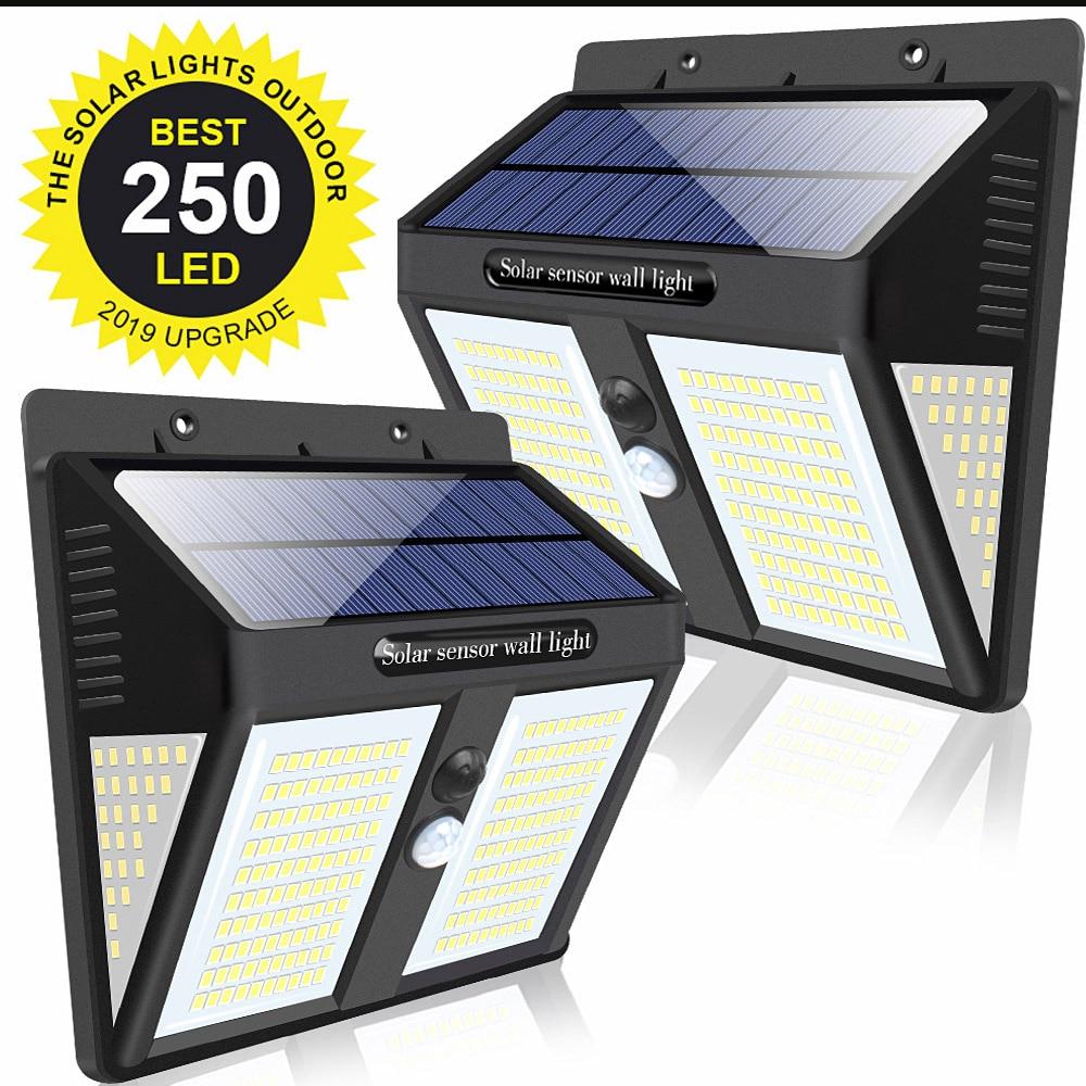 250 LED Outdoor Solar Lights For Garden Decoration Luminaria Solar Powered Street Wall Lamp Solar Motion Sensor Light Waterproof