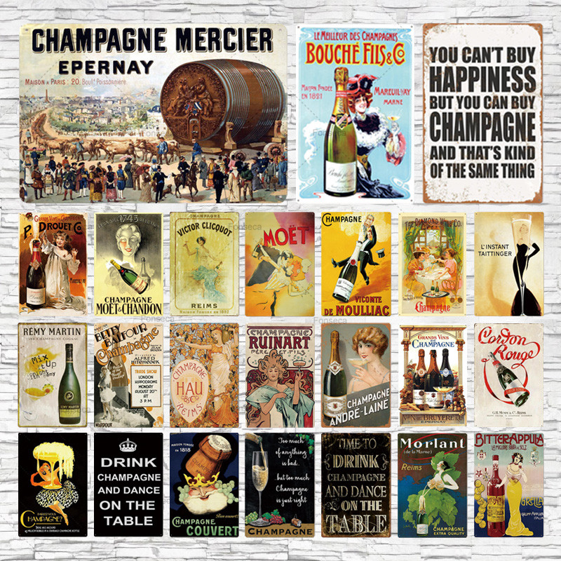 Bar Sign Champagner Metall Beer Poster Plaque Metall Vintage Metall Zeichen Zinn Wand Dekor Fr Man Cave Bar Pub Club Eisen Mal