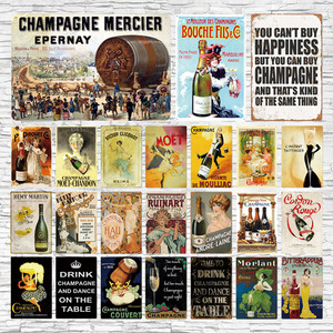 Bar Sign Champagner Metall Beer Poster Plaque Metall Vintage Metall Zeichen Zinn Wand Dekor fr Man Cave Bar Pub Club Eisen Mal(China)