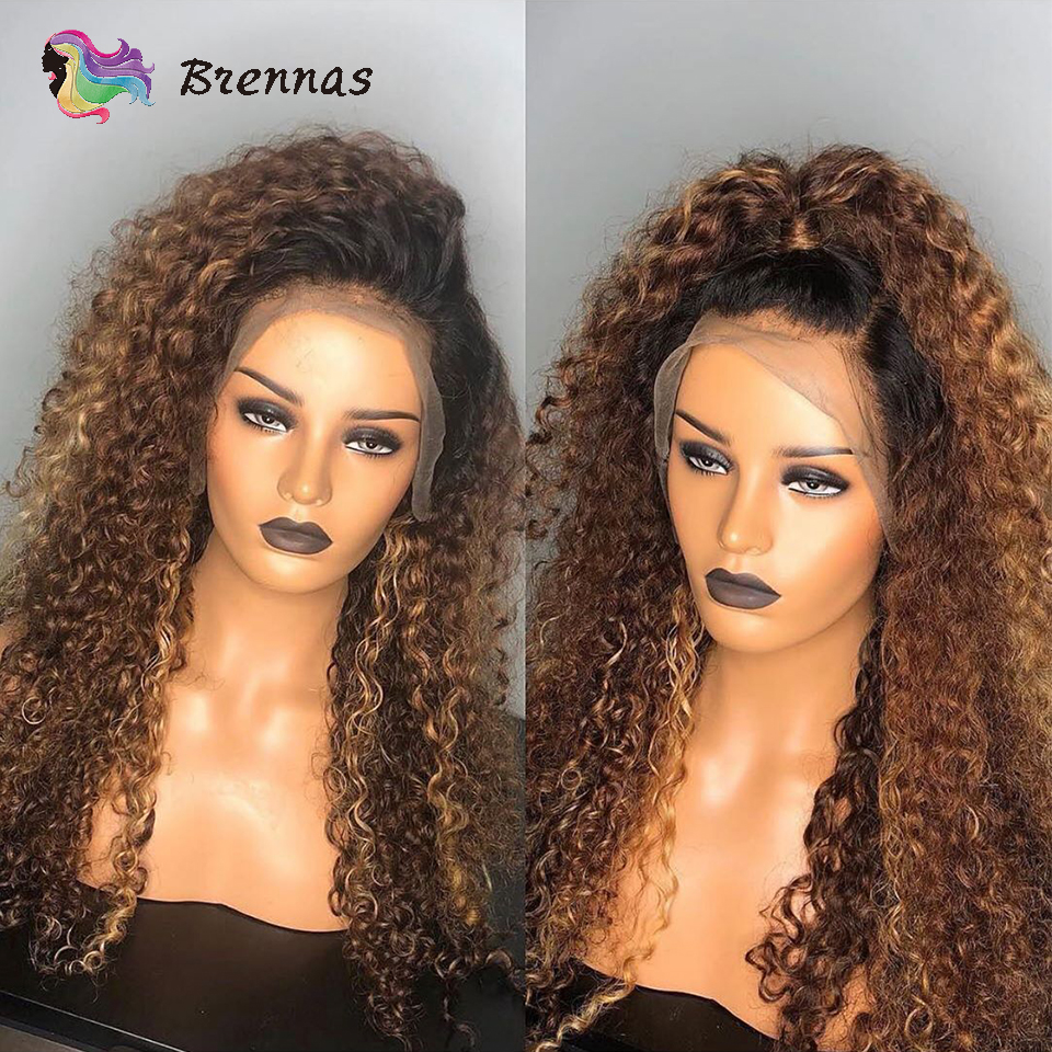 Ombre Curly lace front human hair wigs for women 1B30 brown color 13x6 lace wig Brazilian Remy hair bleached knots Pre Plucked