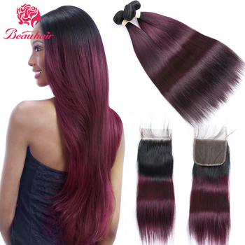 Brazilian hair Bundle Weaves Extensions Pre-Colored Straight Human Hair Weave With Closure Ombre Color Bundles With Lace Closure