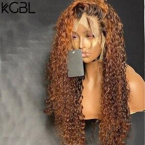"""Image 3 - KGBL кудрявые 360 Ombre передний парик человеческих волос с волосами ребенка 250 плотность 8 """" 24"""" бразильский Non Remy средний коэффициент для черных женщин"""