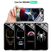 For Xiaomi Note3 Marvel Ironman Captain America Spider-Man Shockproof Tempered Glass Back Case Cover Silicone Soft Edge Casing(China)