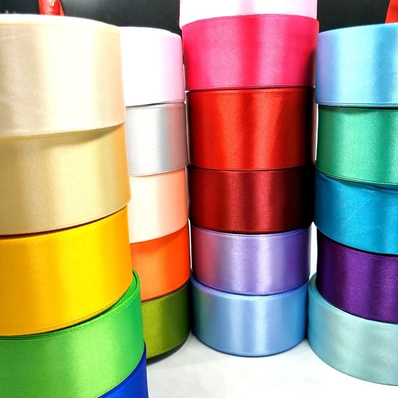 HL 5 meters 15 20 25 40 50mm Solid Color Satin Ribbons Wedding Decorative Gift HL 5 meters 15/20/25/40/50mm Solid Color Satin Ribbons Wedding Decorative Gift Box Wrapping Belt DIY Crafts