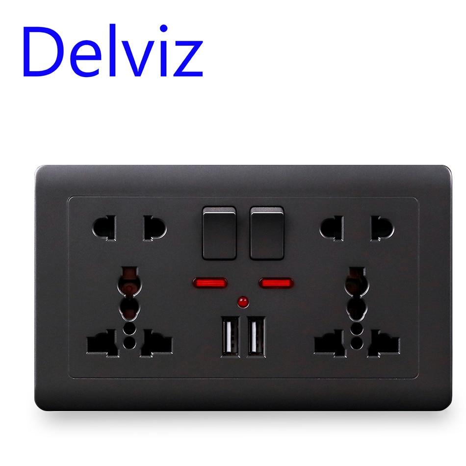 Delviz EU Standard Usb Socket, Gray Embedded Panel,2.1A Dual USB Port, AC 110-250V, UK Wall Power Socket Universal 5 Hole Outlet