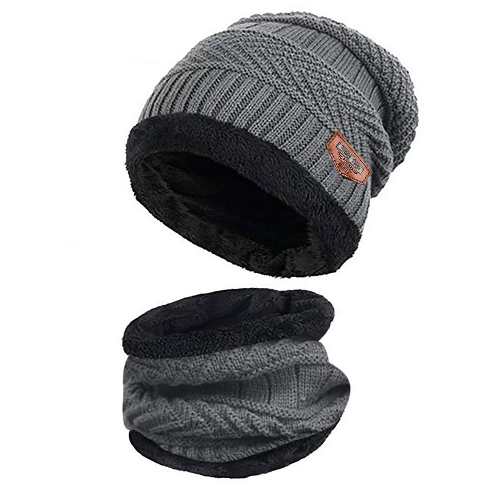 Мужская теплая шапка Skullies+ мягкий шарф, комплект из двух предметов, зимняя утолщенная шапка, Мужская ветрозащитная вязаная шапка, грелка для шеи# T5P - Цвет: Gray