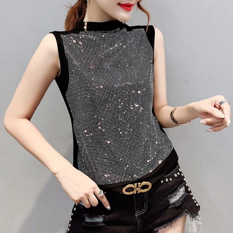 2020 New Summer Casual Loose Korean Clothes Diamonds T-shirt Women Cotton Fashion Sleeveless Tops Ropa Mujer Shirt Tees T02423