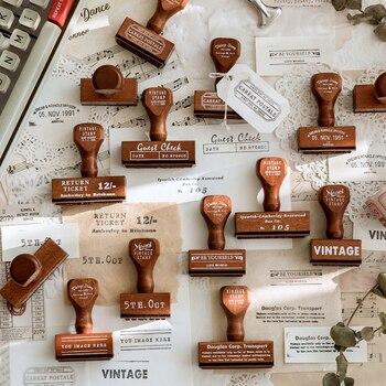 Yoofun-sello con mango de madera para manualidades, Serie de texto antiguo, madera para sellos de goma álbumes de recortes, Bullet Journaling, 1 ud./diseño