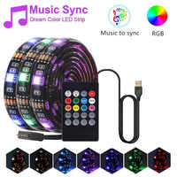0.3/0.5/1/2/3 M 5050 Rgb Led Strip Sync To Music Light Waterproof Diode Tape 5050 Led Strip Ribbon 5v Usb Adapter+ir Remote