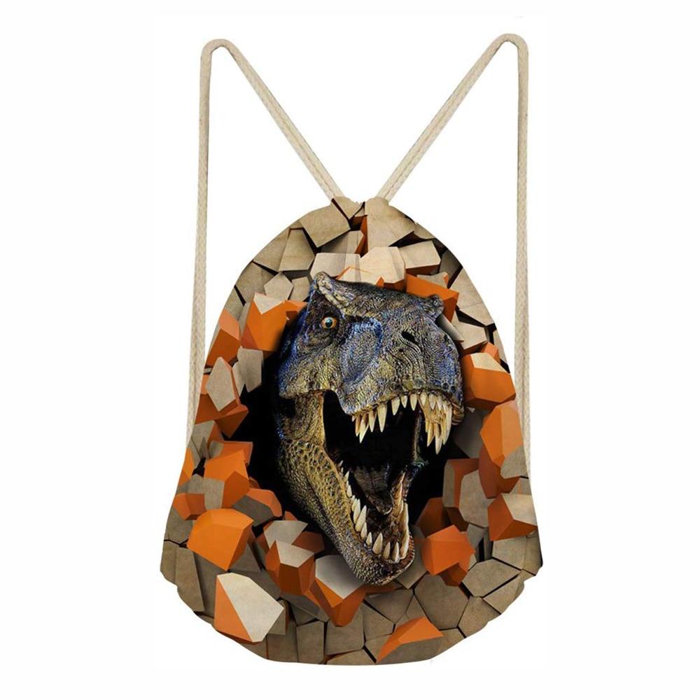 Drawstring Backpack Dinosaur 3D Print Students Casual Bookbag School Bags For Teenage Drawstring Bag Travel Beach Bags Bolsa