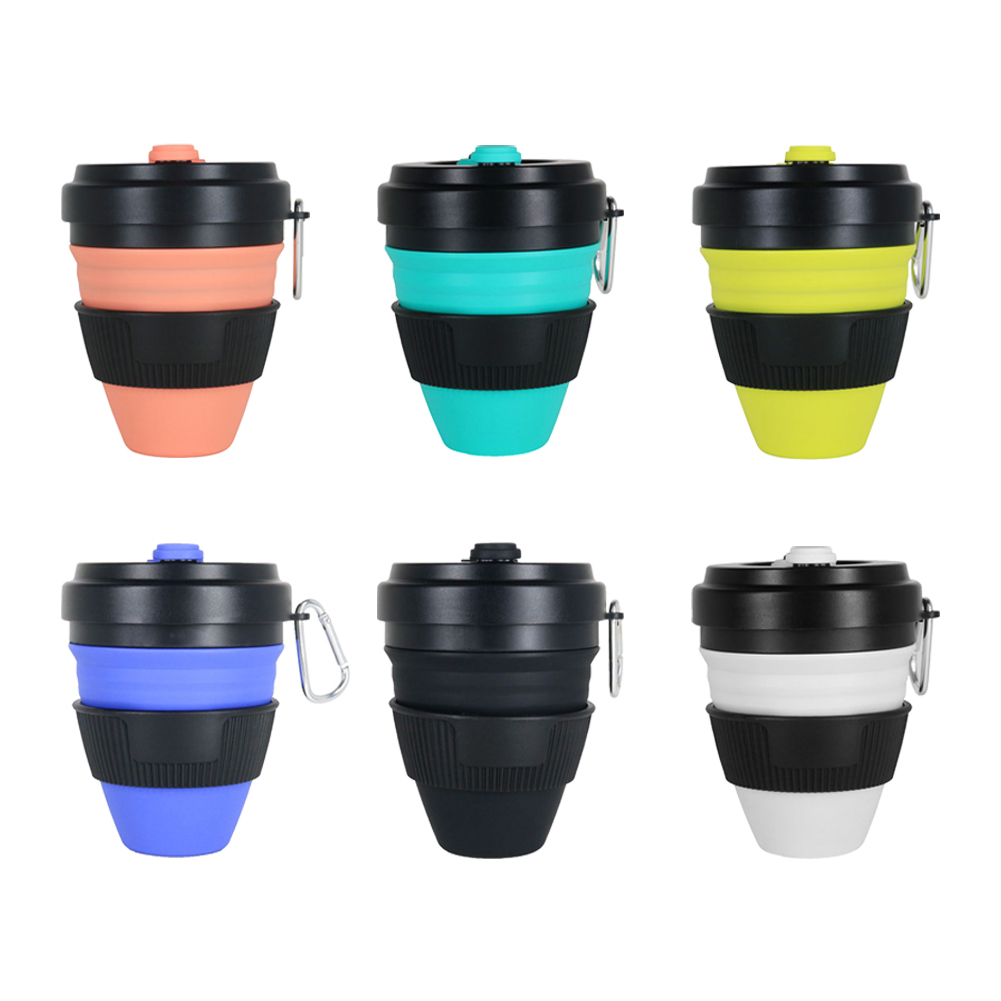 450ml Silicone Folding Cup Outdoor Sports Travel Portable Telescopic Collapsible Drink Coffee Water Cup With Lid