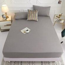 Novo produto 1pc 100% poliéster sólido capa de colchão de folha quatro cantos com faixa elástica folha de cama (precisa encomendar fronhas)
