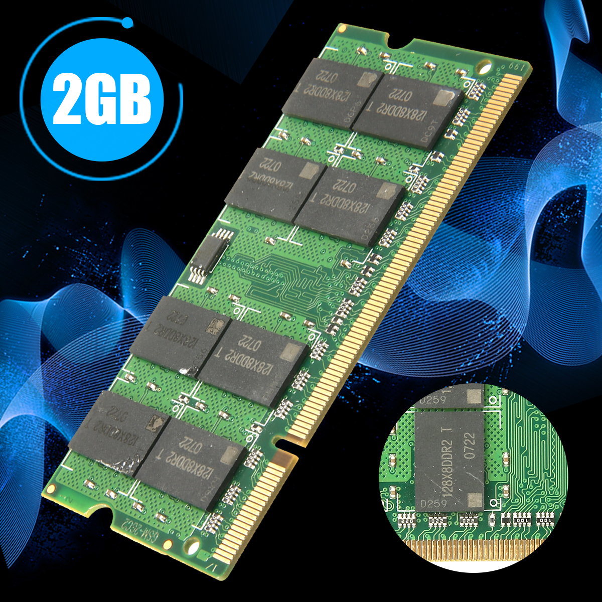 New Arrival 1pc 2GB PC2-6400 DDR2-800MHz Ram Non-ECC CL5 Laptop 200pin SODIMM Memory Rams For Computer Parts