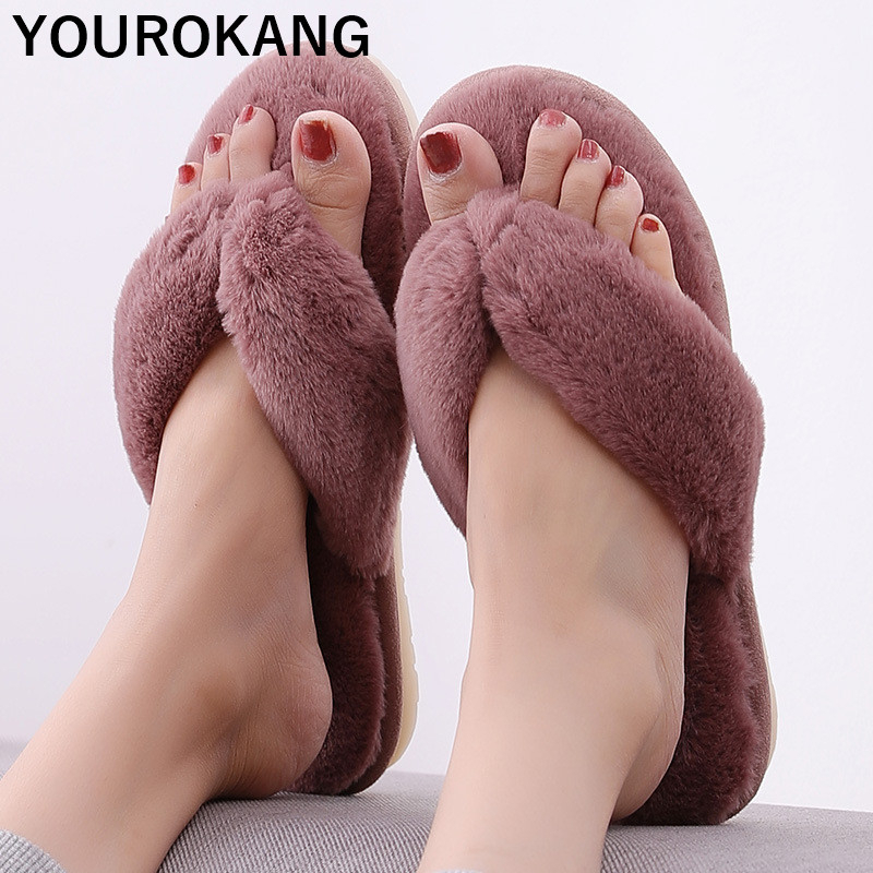 Autumn Winter Women Slippers Indoor Floor Flip Flops Fashion Furry Plush Home Slipper Soft Cotton Female Flats Warm Footwear