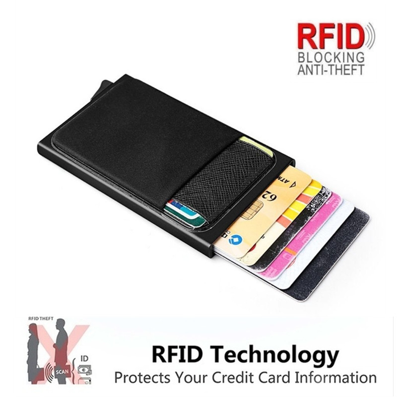 Men Business Aluminum  Cash ID Card Holder RFID Blocking Slim Metal Wallet Coin Purse card case  credit card wallet rfid wallet 2