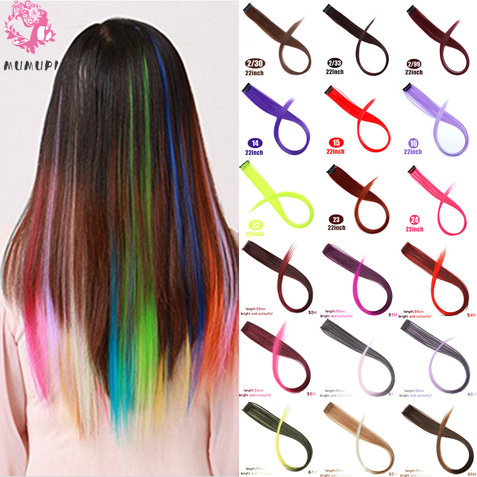 MUMUPI Connect Colorful Straight Hair Wigs Clip Piece Hairpin Party Nightclub Cosplay Women Girls Decorative Hair Accessories