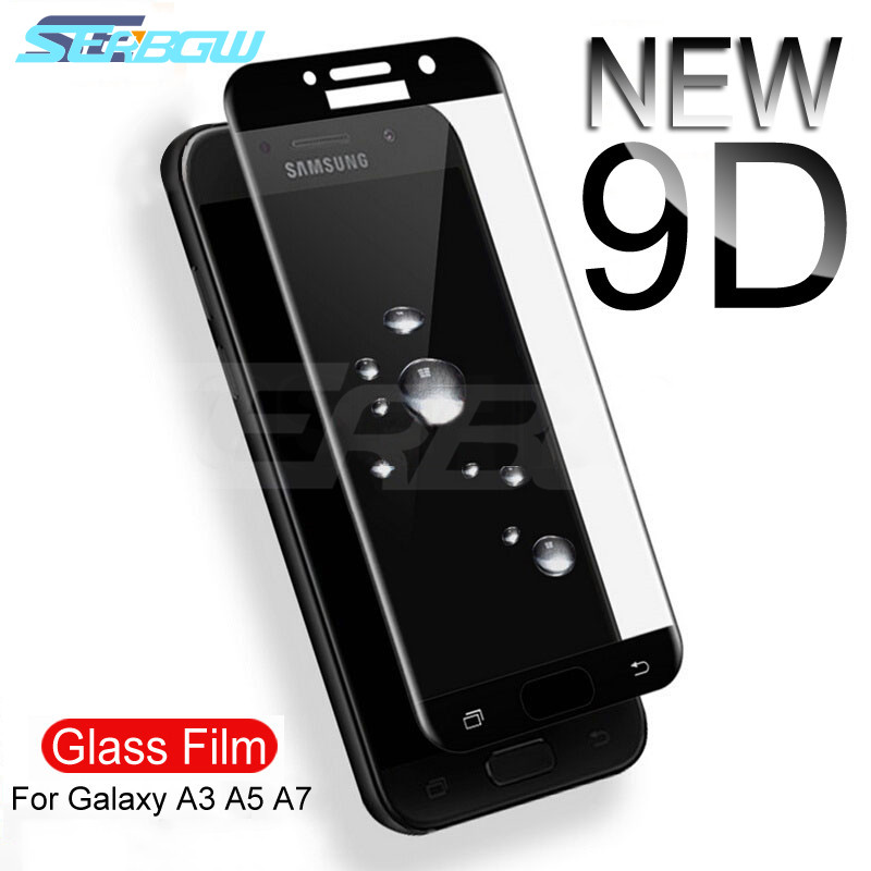 9D Protective Glass on the For Samsung Galaxy A3 A5 A7 Samsung J3 J5 J7 2016 2017 S7 Tempered Screen Protector Glass Film Case-in Phone Screen Protectors from Cellphones & Telecommunications