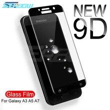 9D Schutz Glas auf die Für Samsung Galaxy A3 A5 A7 Samsung J3 J5 J7 2016 2017 S7 Gehärtetem Bildschirm schutz Glas Film Fall