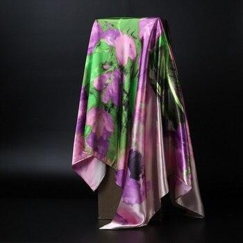 Fashion Hijab Scarf For Women Silk Satin Print Kerchief Head Scarfs Female 90cm*90cm Square Shawls Wraps Neck Scarves For Ladies
