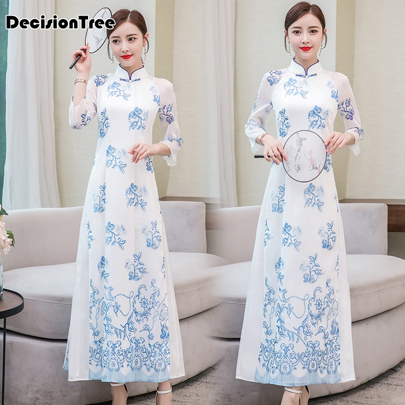 2019 Improved Cheongsam Dress Ao Dai Dress Long Vietnam Clothing Robe Stand Collar Floral Print Dress Qipao Vestidos Oriental