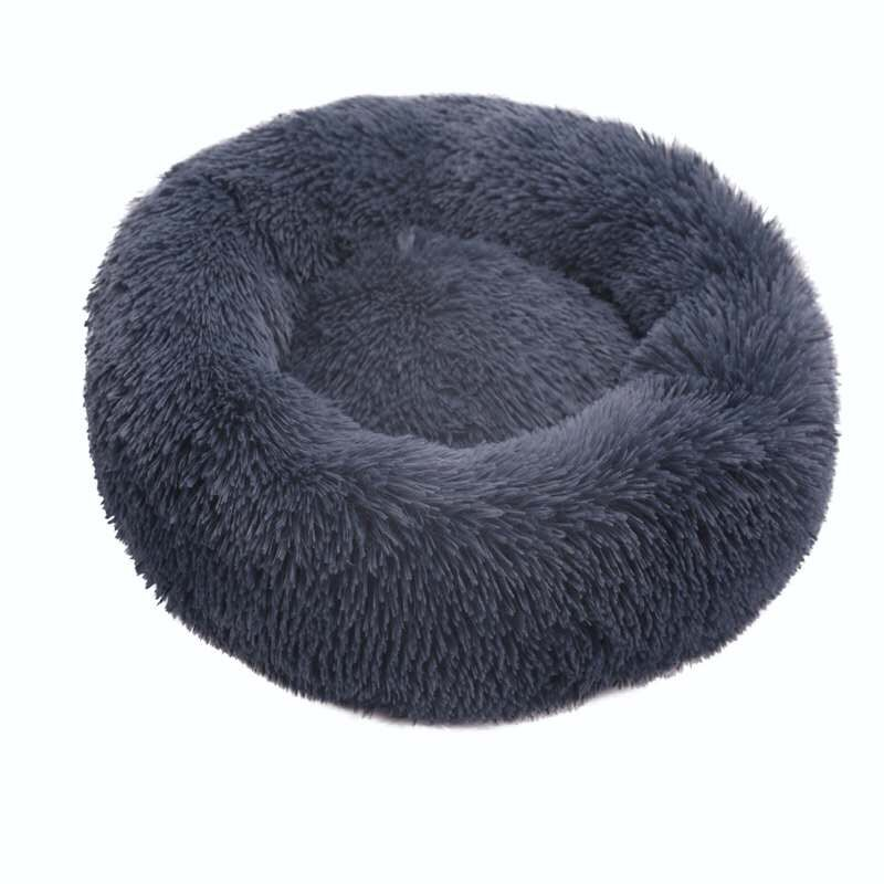 Gray-Round Cat Beds House Soft Long Plush Best Pet Dog Bed For Dogs Basket Pet