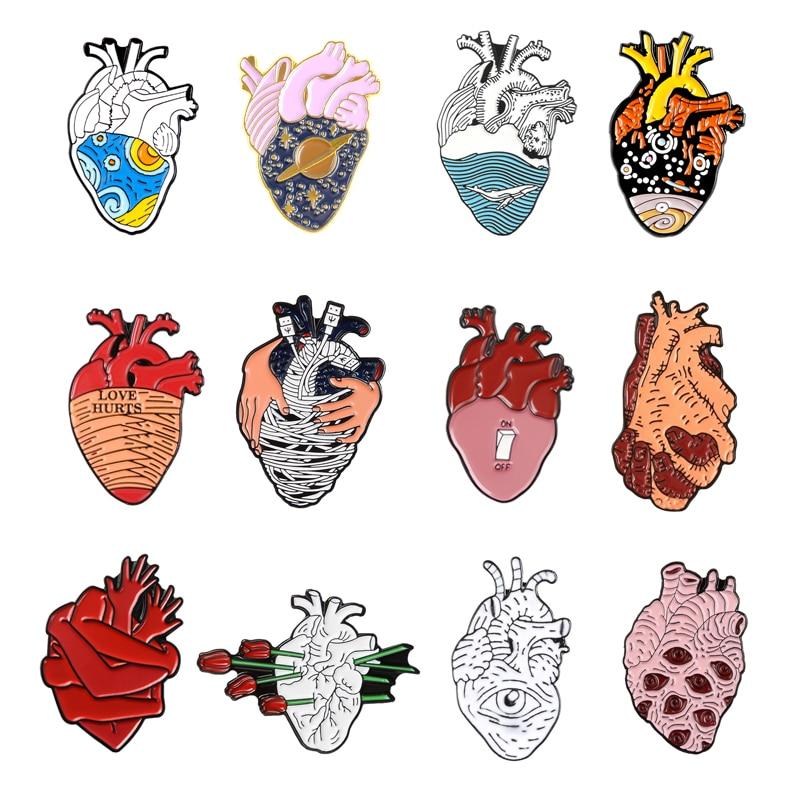 Heart Series Enamel Brooch Creative Painting Pin Heart Cosmic Pink Embrace Van Gogh Star Wave Ocean Rose Lapel Badge Friend Gift