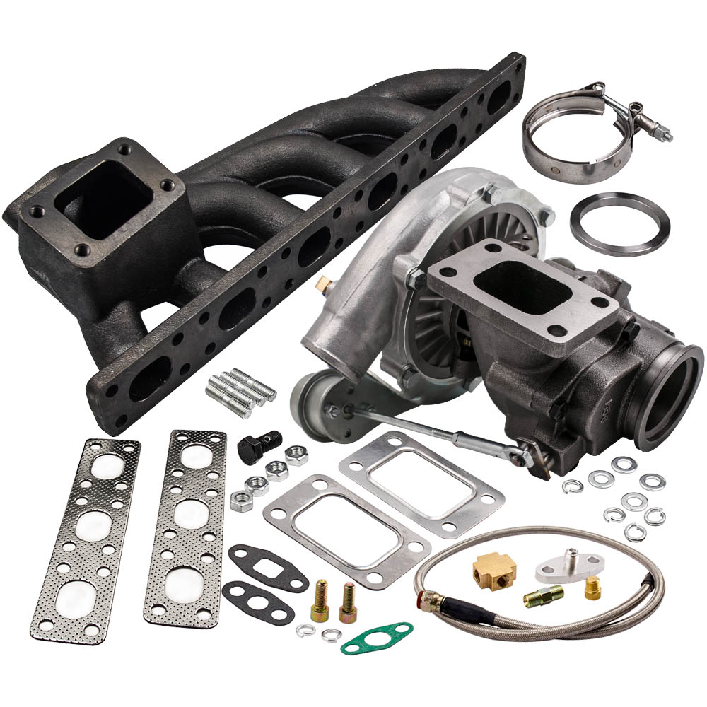 T04E T3 T4 .63 A/R Turbo Charger W/ Exhaust Manifold for BMW E36 E46 323I 1997 1999+Turbo Bradied Oil Feed Inlien Line Kit