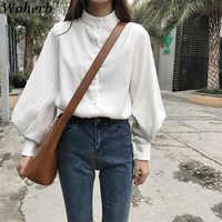 Woherb Mujer Tops y Blusas Vintage De manga larga camisas De otoño señoras blusa blanca coreana Blusas Mujer De Moda 2019 20179