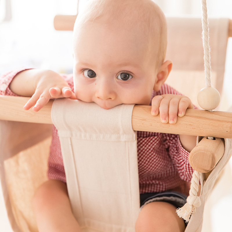 1Pcs Baby Swing Chair Home Interior Furniture Suspension Children'S Kindergarten Indoor Decor Hammock Canvas Wooden Swing Chair
