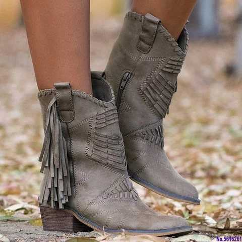 Femme Vogue Boho En Daim Synthétique Frange Tassel Enfiler Bottines Plates Chaussures