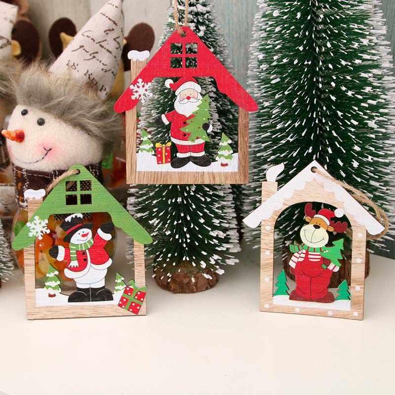 Holz Weihnachten Baum Ornamente Santa Claus Hängen Anhänger Weihnachten Geschenk Weihnachten Dekorationen für Home Navidad 2019 Decor Neue Jahr