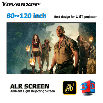 """ALR Ambient Light Rejecting Projector Screen 80-120"""" Ultra-thin border Frame Top class for Xiaomi XGIMI Laser UST projectors"""