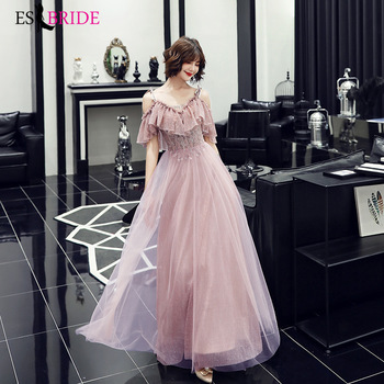 New spring and autumn long pink bridesmaid group evening dress