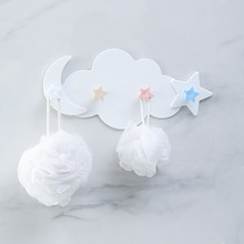 Plastic Self-adhesive Wall Hook Coat Hanger Key Holder New Star Moon Cloud Shape PP Towel Bathroom Kitchen Hooks