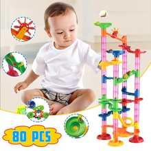 """80 шт./компл. """"сделай сам"""", конструкторы, Мрамор забе трек 3D строительные блоки Дети лабиринт мяч рулонные игрушки развивающие игрушки подарок Duploe блоки"""